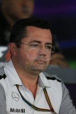 World © Octane Photographic Ltd. Friday 31st October 2014, F1 USA GP, Austin, Texas, Circuit of the Americas (COTA) - FIA Press Conference. McLaren Mercedes Racing Director – Eric Boullier. Digital Ref: 1146LB1D9215