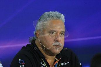 World © Octane Photographic Ltd. Friday 31st October 2014, F1 USA GP, Austin, Texas, Circuit of the Americas (COTA) - FIA Press Conference. Sahara Force India Team Principle – Vijay Mallya. Digital Ref:  1146LB1D9240