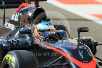 World © Octane Photographic Ltd. McLaren Honda MP4/30 – Fernando Alonso. Friday 27th November 2015, F1 Abu Dhabi Grand Prix, Practice 1, Yas Marina. Digital Ref: 1477CB1L5077