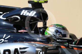 World © Octane Photographic Ltd. Sahara Force India VJM08B – Sergio Perez. Friday 27th November 2015, F1 Abu Dhabi Grand Prix, Practice 1, Yas Marina. Digital Ref: 1477CB1L5100