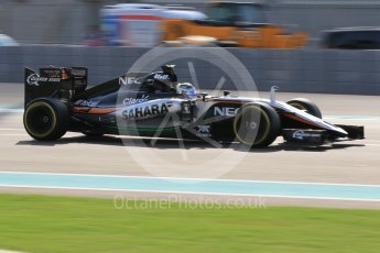 World © Octane Photographic Ltd. Sahara Force India VJM08B – Sergio Perez. Friday 27th November 2015, F1 Abu Dhabi Grand Prix, Practice 1, Yas Marina. Digital Ref:  1477CB1L5276