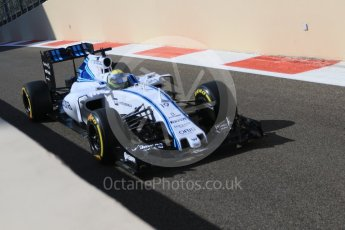 World © Octane Photographic Ltd. Williams Martini Racing FW37 – Felipe Massa. Friday 27th November 2015, F1 Abu Dhabi Grand Prix, Practice 1, Yas Marina. Digital Ref: 1477CB7D1727