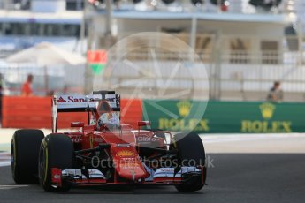 World © Octane Photographic Ltd. Scuderia Ferrari SF15-T– Sebastian Vettel. Friday 27th November 2015, F1 Abu Dhabi Grand Prix, Practice 1, Yas Marina. Digital Ref: 1477LB1D6713