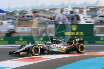 World © Octane Photographic Ltd. Sahara Force India VJM08B – Sergio Perez. Friday 27th November 2015, F1 Abu Dhabi Grand Prix, Practice 2, Yas Marina. Digital Ref: 1478CB1L5730