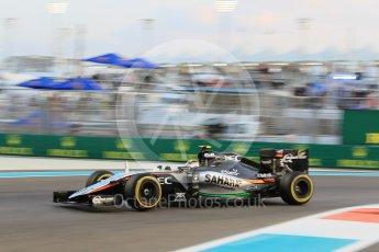World © Octane Photographic Ltd. Sahara Force India VJM08B – Sergio Perez. Friday 27th November 2015, F1 Abu Dhabi Grand Prix, Practice 2, Yas Marina. Digital Ref: 1478CB1L5779