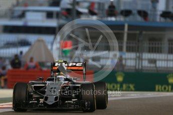 World © Octane Photographic Ltd. Sahara Force India VJM08B – Sergio Perez. Friday 27th November 2015, F1 Abu Dhabi Grand Prix, Practice 2, Yas Marina. Digital Ref: 1478LB1D7295
