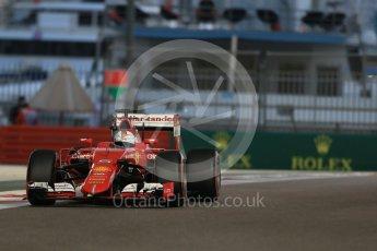World © Octane Photographic Ltd. Scuderia Ferrari SF15-T– Sebastian Vettel. Friday 27th November 2015, F1 Abu Dhabi Grand Prix, Practice 2, Yas Marina. Digital Ref: 1478LB1D7304