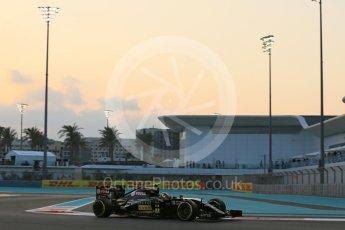 World © Octane Photographic Ltd. Lotus F1 Team E23 Hybrid – Pastor Maldonado. Friday 27th November 2015, F1 Abu Dhabi Grand Prix, Practice 2, Yas Marina. Digital Ref: 1478LB5D4151