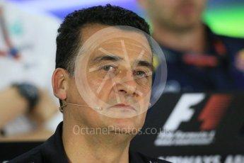 World © Octane Photographic Ltd.. Friday 27th November 2015, F1 Abu Dhabi Grand Prix, Team Personnel FIA Press Conference, Yas Marina. Fererico Gastaldi – Lotus F1 Team Deputy Team Principal. Digital Ref: 1480LB1D8044
