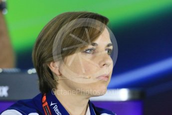 World © Octane Photographic Ltd.. Friday 27th November 2015, F1 Abu Dhabi Grand Prix, Team Personnel FIA Press Conference, Yas Marina. Claire Williams – Williams Martini Racing Deputy Team Principal. Digital Ref: 1480LB1D8046