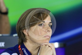 World © Octane Photographic Ltd.. Friday 27th November 2015, F1 Abu Dhabi Grand Prix, Team Personnel FIA Press Conference, Yas Marina. Claire Williams – Williams Martini Racing Deputy Team Principal. Digital Ref: 1480LB1D8061