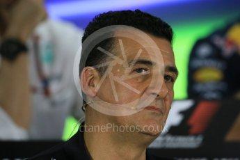 World © Octane Photographic Ltd.. Friday 27th November 2015, F1 Abu Dhabi Grand Prix, Team Personnel FIA Press Conference, Yas Marina. Fererico Gastaldi – Lotus F1 Team Deputy Team Principal. Digital Ref: 1480LB1D8066
