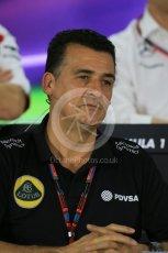 World © Octane Photographic Ltd.. Friday 27th November 2015, F1 Abu Dhabi Grand Prix, Team Personnel FIA Press Conference, Yas Marina. Fererico Gastaldi – Lotus F1 Team Deputy Team Principal. Digital Ref: 1480LB1D8135