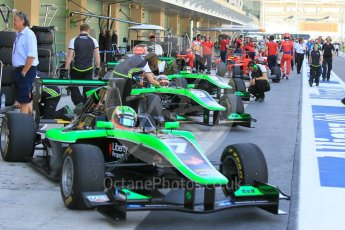 World © Octane Photographic Ltd. Friday 27th November 2015. Status Grand Prix – Seb Morris, Alex Fontana and Sandy Stuvik. GP3 Practice - Yas Marina, Abu Dhabi. Digital Ref. : 1475CB1L4451