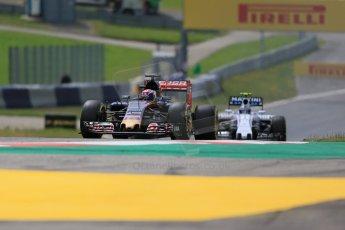 World © Octane Photographic Ltd. Scuderia Toro Rosso STR10 – Max Verstappen and Williams Martini Racing FW37 – Valtteri Bottas. Friday 19th June 2015, F1 Austrian GP Practice 1, Red Bull Ring, Spielberg, Austria. Digital Ref: 1304LB1D5080