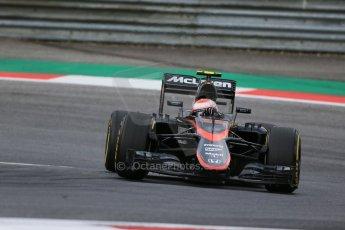 World © Octane Photographic Ltd. McLaren Honda MP4/30 - Jenson Button. Friday 19th June 2015, F1 Austrian GP Practice 1, Red Bull Ring, Spielberg, Austria. Digital Ref: 1304LB1D5648