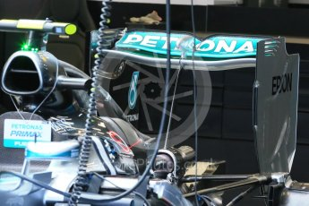 World © Octane Photographic Ltd. Mercedes AMG Petronas F1 W06 Hybrid rear wing radiator and rear brakes – Nico Rosberg. Friday 21st August 2015, F1 Belgian GP Pitlane, Spa-Francorchamps, Belgium. Digital Ref: 1379LB1D7422