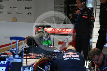 World © Octane Photographic Ltd. Scuderia Toro Rosso STR10 rear wing – Max Verstappen. Friday 21st August 2015, F1 Belgian GP Pitlane, Spa-Francorchamps, Belgium. Digital Ref: 1379LB1D7524