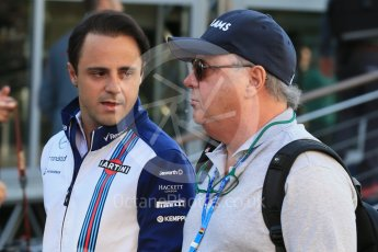 World © Octane Photographic Ltd. Williams Martini Racing FW37 – Felipe Massa and father Luis Antonio Massa. Friday 21st August 2015, F1 Belgian GP Paddock, Spa-Francorchamps, Belgium. Digital Ref: 1379LB1D7603