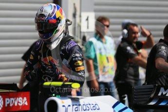 World © Octane Photographic Ltd. Infiniti Red Bull Racing RB11 – Daniel Ricciardo. Saturday 22nd August 2015, F1 Belgian GP Qualifying Parc Ferme, Spa-Francorchamps, Belgium. Digital Ref: