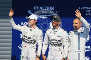 World © Octane Photographic Ltd. Mercedes AMG Petronas F1 W06 Hybrid – Lewis Hamilton (Pole), Nico Rosberg (2nd) and Williams Martini Racing FW37 – Valtteri Bottas (3rd). Saturday 22nd August 2015, F1 Belgian GP Qualifying, Spa-Francorchamps, Belgium. Digital Ref: