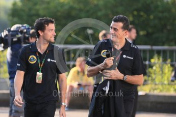 World © Octane Photographic Ltd. Lotus F1 Team – Federico Gastaldi and Jolyon Palmer. Saturday 22nd August 2015, F1 Belgian GP Paddock, Spa-Francorchamps, Belgium. Digital Ref: 1380LB1D9301