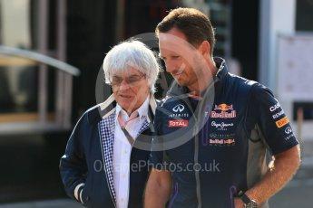 World © Octane Photographic Ltd. Infiniti Red Bull Racing - Christian Horner and Bernie Ecclestone. Saturday 22nd August 2015, F1 Belgian GP Paddock, Spa-Francorchamps, Belgium. Digital Ref: 1380LB1D9681