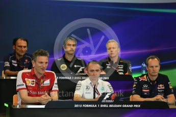 World © Octane Photographic Ltd. FIA Team Personnel Press Conference. Friday 21st August 2015, F1 Belgian GP, Spa-Francorchamps, Belgium. James Allison - Scuderia Ferrari Technical Director, Nick Chester – Lotus F1 Team Technical Director, Giampaolo Dall'Ara – Sauber Ferrari F1 Team Head of Track Engineering, Andrew Green – Sahara Force India Technical Director, Paddy Lowe - Mercedes AMG Petronas Executive Director (Technical), Paul Monaghan - Infinity Red Bull Racing Chief Engineer - Car Engineering. Digital Ref: 1377LB5D6579