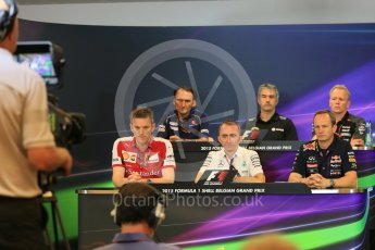 World © Octane Photographic Ltd. FIA Team Personnel Press Conference. Friday 21st August 2015, F1 Belgian GP, Spa-Francorchamps, Belgium. James Allison - Scuderia Ferrari Technical Director, Nick Chester – Lotus F1 Team Technical Director, Giampaolo Dall'Ara – Sauber Ferrari F1 Team Head of Track Engineering, Andrew Green – Sahara Force India Technical Director, Paddy Lowe - Mercedes AMG Petronas Executive Director (Technical), Paul Monaghan - Infinity Red Bull Racing Chief Engineer - Car Engineering. Digital Ref: 1377LB5D6586