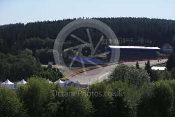 World © Octane Photographic Ltd. Eau Rouge through the trees. Thursday 20th August 2015, F1 Belgian GP Paddock, Spa-Francorchamps, Belgium. Digital Ref: 1370LB1D6693