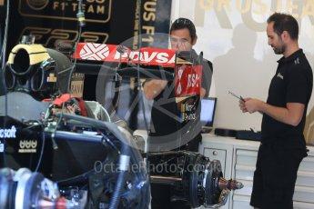 World © Octane Photographic Ltd. Lotus F1 Team E23 Hybrid – Romain Grosjean. Thursday 20th August 2015, F1 Belgian GP Pitlane, Spa-Francorchamps, Belgium. Digital Ref: 1370LB1D7046