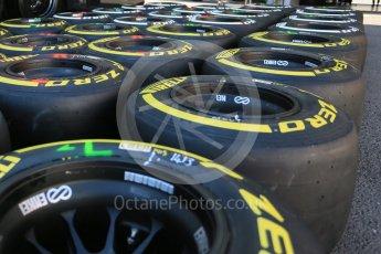 World © Octane Photographic Ltd. Pirelli medium (white) and soft (yellow) tyres. Thursday 20th August 2015, F1 Belgian GP Pitlane, Spa-Francorchamps, Belgium. Digital Ref: 1370LB5D6265