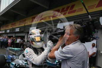 World © Octane Photographic Ltd. Mercedes AMG Petronas F1 W06 Hybrid – Lewis Hamilton. Sunday 23rd August 2015, F1 Belgian GP Parc Ferme, Spa-Francorchamps, Belgium. Digital Ref: 1390LB5D0104