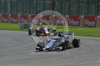 World © Octane Photographic Ltd. Sauber F1 Team C34-Ferrari – Marcus Ericsson and Infiniti Red Bull Racing RB11 – Daniil Kvyat. Sunday 23rd August 2015, F1 Belgian GP Race, Spa-Francorchamps, Belgium. Digital Ref: 1389LB1D2125