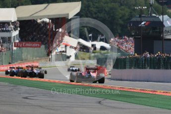 World © Octane Photographic Ltd. The pack heading to Eau Rouge. Sunday 23rd August 2015, F1 Belgian GP Race, Spa-Francorchamps, Belgium. Digital Ref: 1389LB1D2207