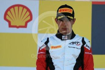 World © Octane Photographic Ltd. Sunday 23rd August 2015. ART Grand Prix – Esteban Ocon (2nd). GP3 Race 2 Podium – Spa-Francorchamps, Belgium. Digital Ref. : 1385LB1D1561