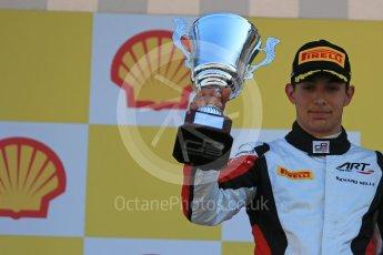 World © Octane Photographic Ltd. Sunday 23rd August 2015. ART Grand Prix – Esteban Ocon (2nd). GP3 Race 2 Podium – Spa-Francorchamps, Belgium. Digital Ref. : 1385LB1D1587