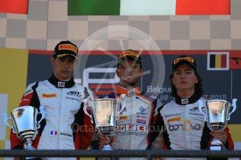 World © Octane Photographic Ltd. Sunday 23rd August 2015. Trident – Luca Ghiotto (1st), ART Grand Prix – Esteban Ocon(2nd) and Alfonso Celis Jr (3rd). GP3 Race 2 Podium – Spa-Francorchamps, Belgium. Digital Ref. : 1385LB1D1629
