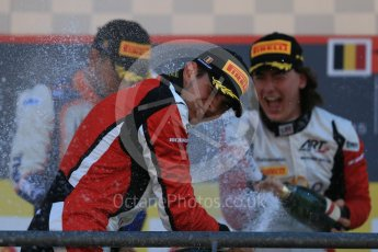 World © Octane Photographic Ltd. Sunday 23rd August 2015. Trident – Luca Ghiotto (1st), ART Grand Prix – Esteban Ocon(2nd) and Alfonso Celis Jr (3rd). GP3 Race 2 Podium – Spa-Francorchamps, Belgium. Digital Ref. : 1385LB1D1664