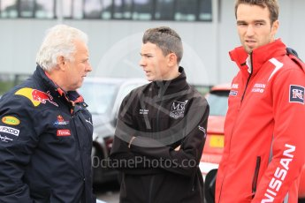 World © Octane Photographic Ltd. Donington Park, UK, Saturday 12th September 2015. Ross Matin (MSA driver) with Red Bull and Harry Tincknell from the Nissan LMP1 WEC squad. Digital Ref :