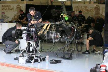 World © Octane Photographic Ltd. Lotus F1 Team E23 Hybrid. Thursday 2nd July 2015, F1 British GP Pit Lane, Silverstone, UK. Digital Ref: 1324LB5D8487