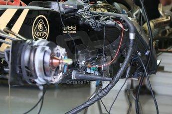 World © Octane Photographic Ltd. Lotus F1 Team E23 Hybrid. Thursday 2nd July 2015, F1 British GP Pit Lane, Silverstone, UK. Digital Ref: 1324LB5D8492