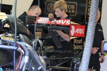 World © Octane Photographic Ltd. Lotus F1 Team E23 Hybrid. Thursday 2nd July 2015, F1 British GP Pit Lane, Silverstone, UK. Digital Ref: 1324LB5D8496