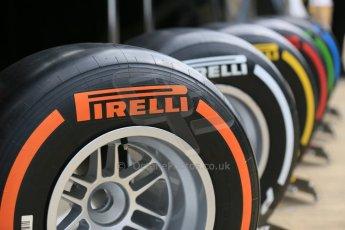 World © Octane Photographic Ltd. Pirelli compounds. Thursday 2nd July 2015, F1 British GP Paddock, Silverstone, UK. Digital Ref: 1324LB5D8569