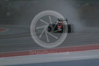 World © Octane Photographic Ltd. McLaren Honda MP4/30 - Jenson Button. Sunday 25th October 2015, F1 USA Grand Prix Qualifying, Austin, Texas - Circuit of the Americas (COTA). Digital Ref: 1464LB1D0771