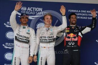 World © Octane Photographic Ltd. Mercedes AMG Petronas F1 W06 Hybrid – Nico Rosberg, followed by team mate Lewis Hamilton and  Infiniti Red Bull Racing RB11 – Daniel Ricciardo. Sunday 25th October 2015, F1 USA Grand Prix Qualifying, Austin, Texas - Circuit of the Americas (COTA). Digital Ref: 1464LB1D1344