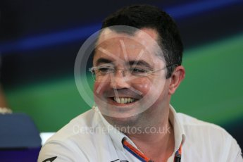 World © Octane Photographic Ltd. FIA Team Personnel Press Conference. Friday 23rd October 2015, F1 USA Grand Prix, Austin, Texas - Circuit of the Americas (COTA). McLaren Honda Racing Director – Eric Boullier Digital Ref: 1462LB1D9656