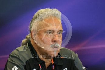 World © Octane Photographic Ltd. FIA Team Personnel Press Conference. Friday 23rd October 2015, F1 USA Grand Prix, Austin, Texas - Circuit of the Americas (COTA). Sahara Force India Team Principal – Vijay Mallya. Digital Ref: 1462LB1D9705