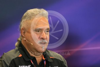 World © Octane Photographic Ltd. FIA Team Personnel Press Conference. Friday 23rd October 2015, F1 USA Grand Prix, Austin, Texas - Circuit of the Americas (COTA). Sahara Force India Team Principal – Vijay Mallya. Digital Ref: 1462LB1D9738