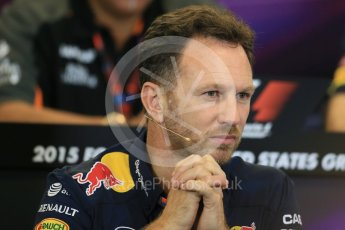World © Octane Photographic Ltd. FIA Team Personnel Press Conference. Friday 23rd October 2015, F1 USA Grand Prix, Austin, Texas - Circuit of the Americas (COTA). Infiniti Red Bull Racing Team Principal – Christian Horner. Digital Ref: 1462LB1D9758